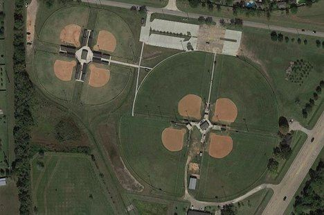 Arial view of the softball fields at the sports park